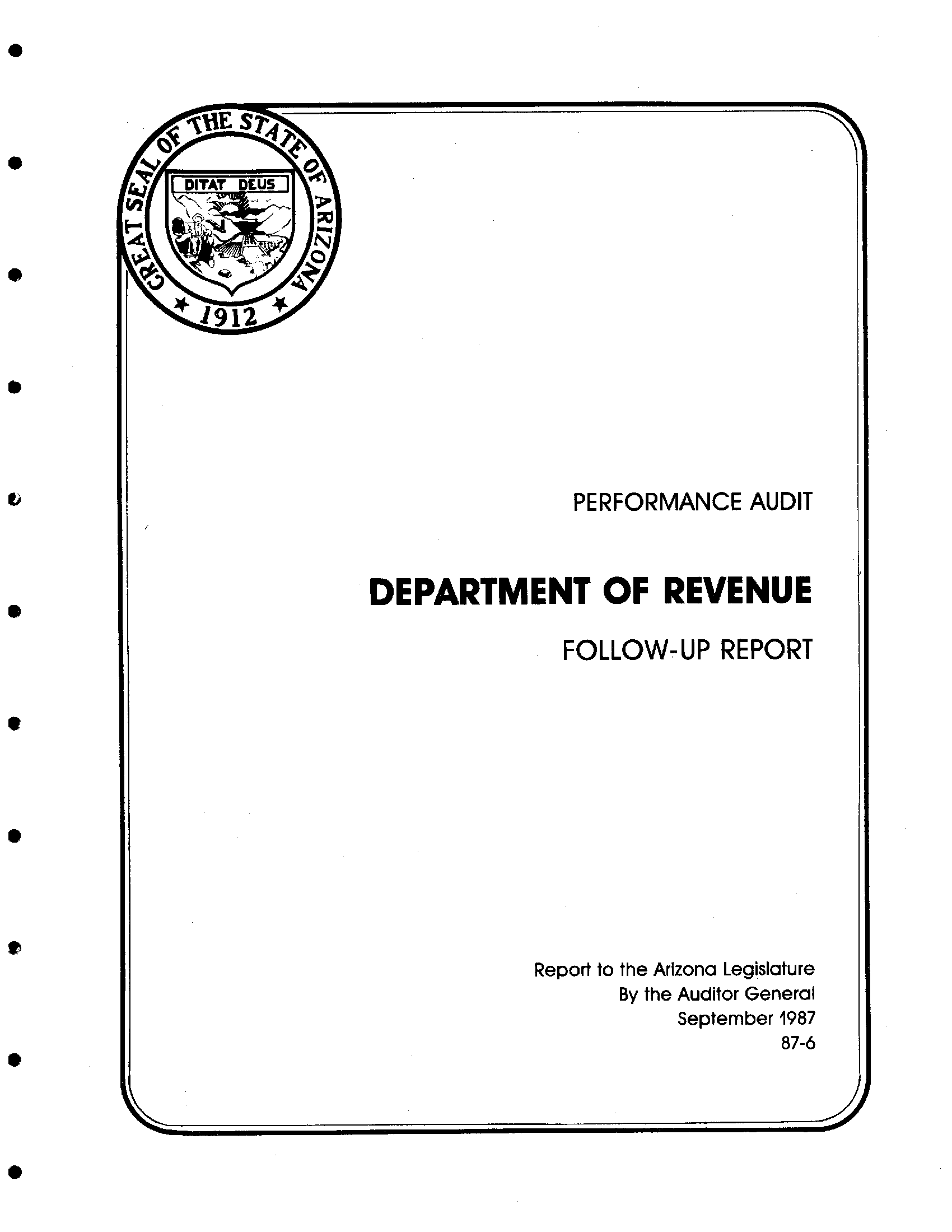 Arizona Report - State Project Follow-up Publications Government Of Performance Memory Revenue Audit Department