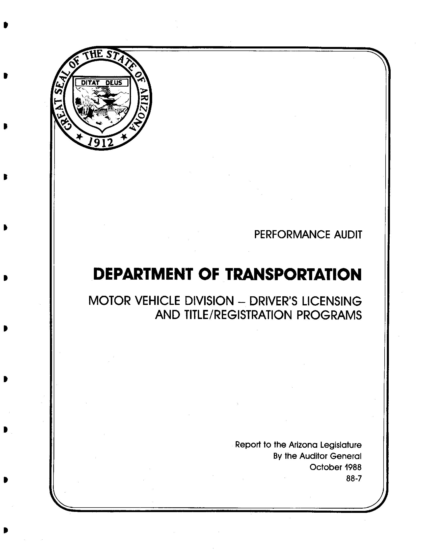 Performance audit, Department of Transportation, Motor Vehicle Division - driver's licensing and title/registration programs