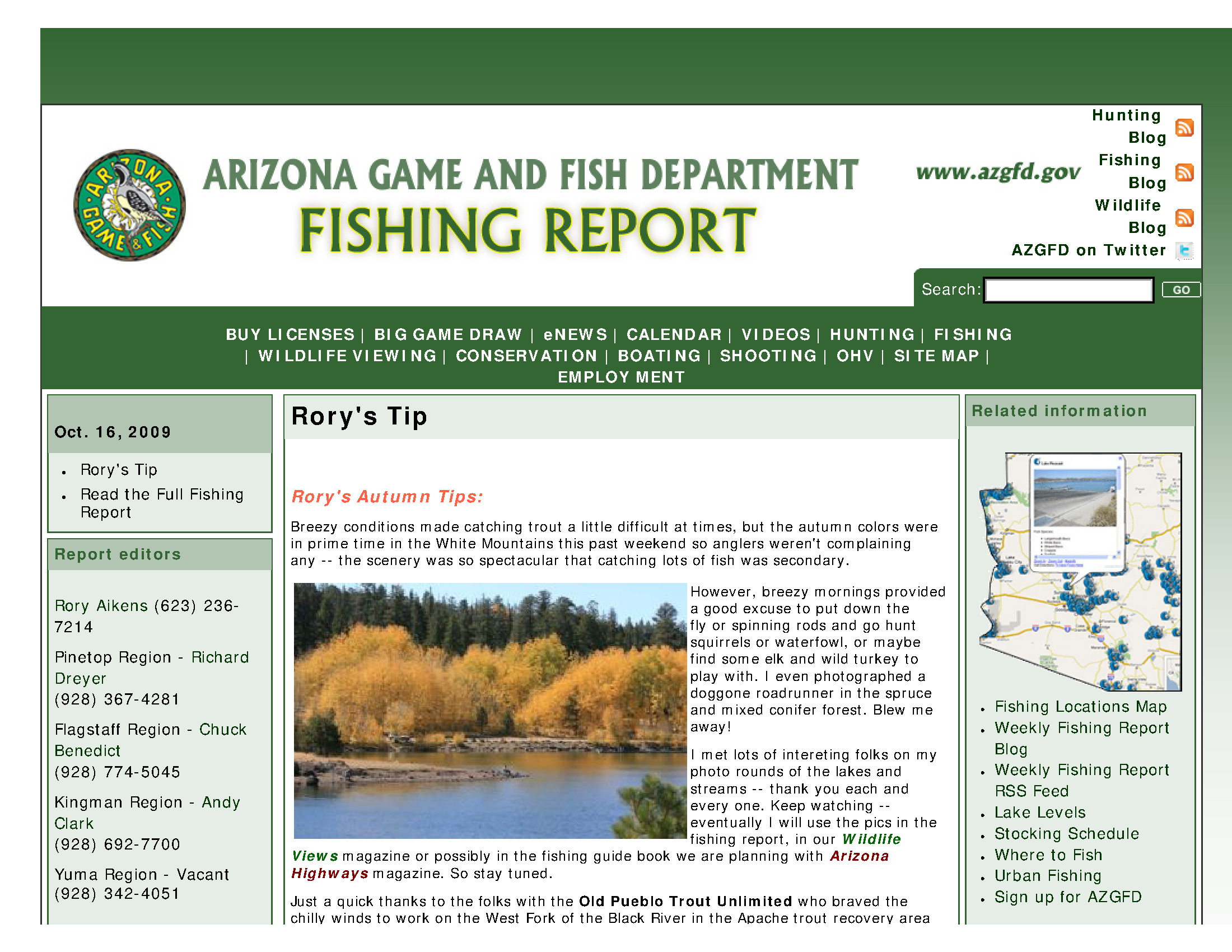 Fishing report: October 16, 2009 - Arizona State Government