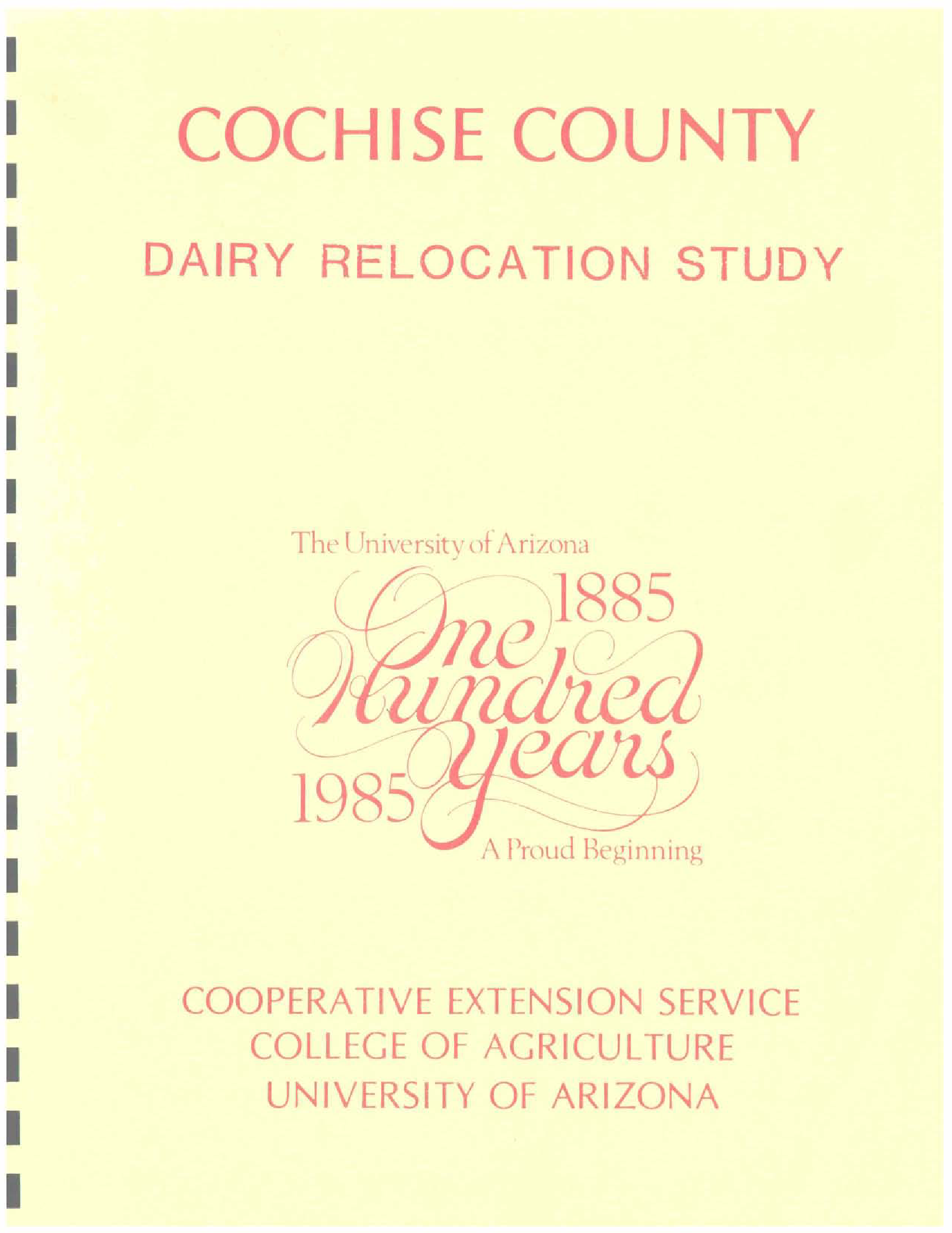 Cochise County dairy relocation study - Arizona State