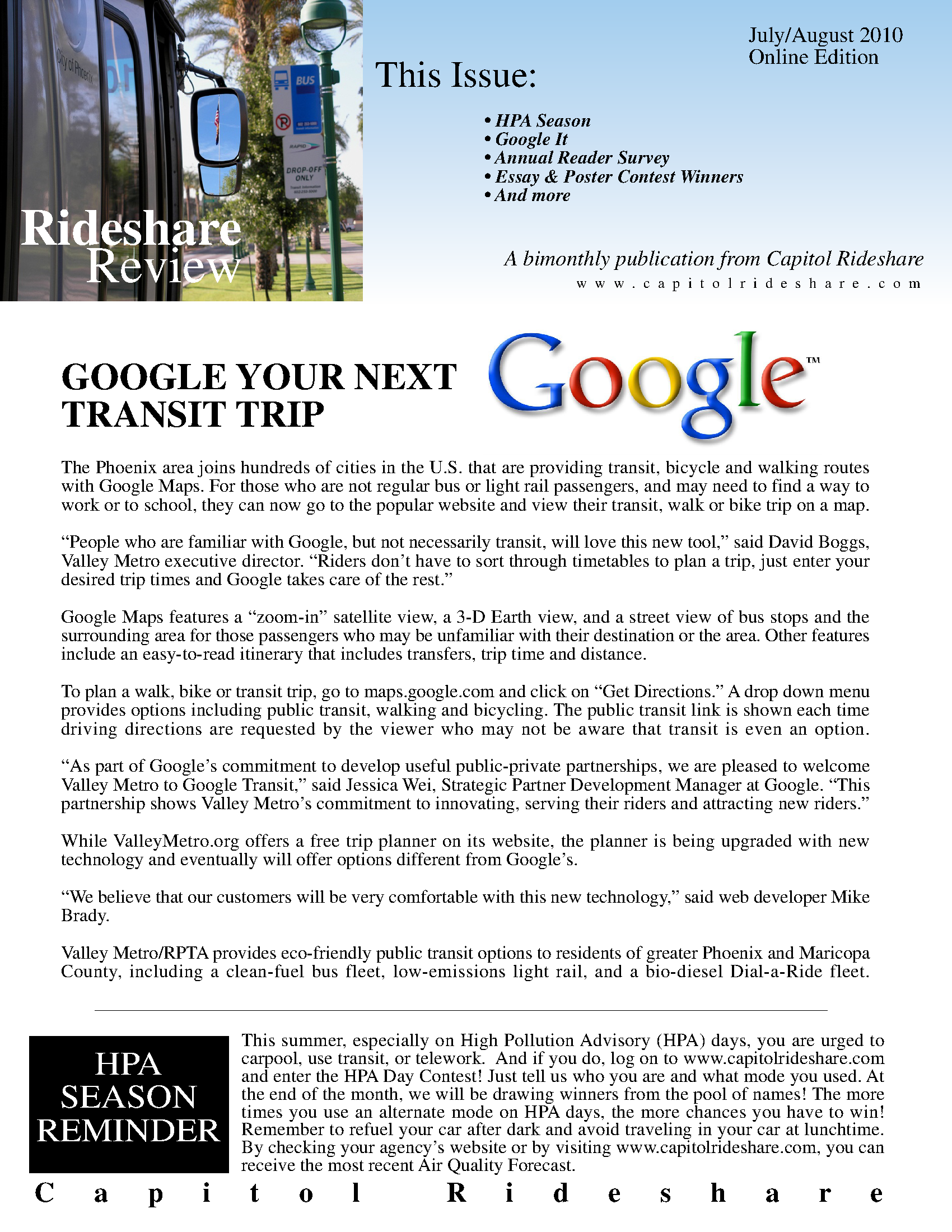 Capitol Rideshare review: bi-monthly newsletter from Capitol