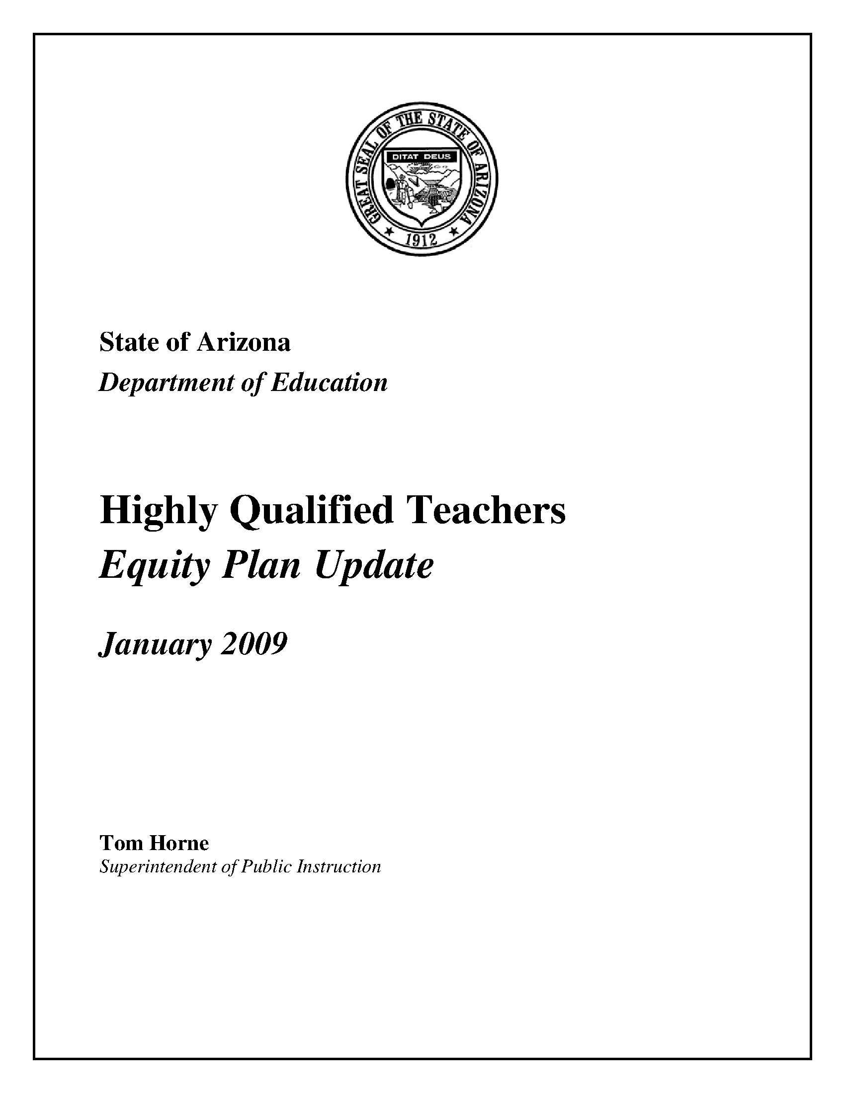 Highly Qualified Teachers Equity Plan Update Arizona State