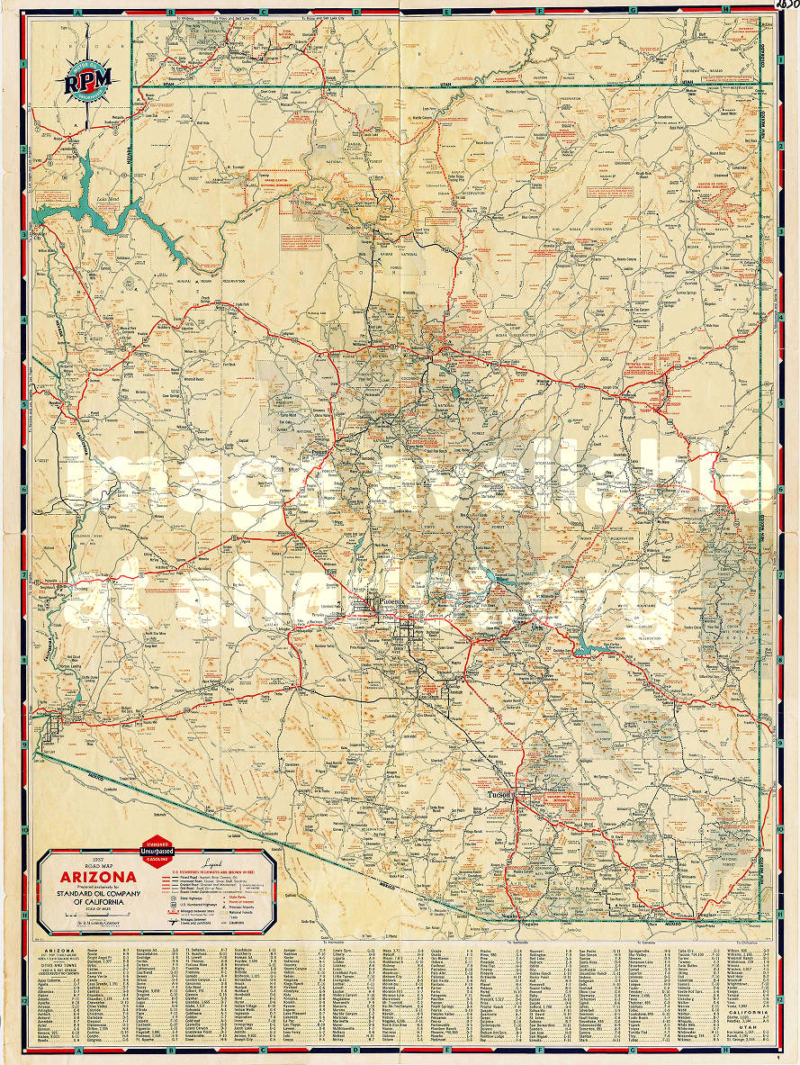 1937 Road Map of Arizona - Sharlot Hall Museum Map Collection ...