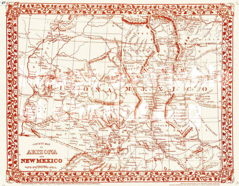County Map of Arizona and New Mexico - Sharlot Hall Museum Map ...