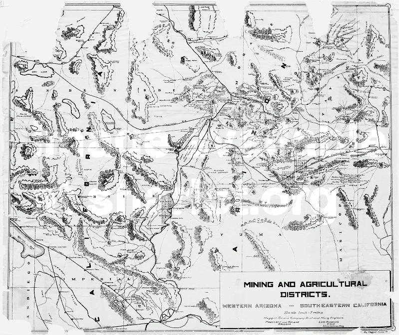Map Of Western Arizona.Mining And Agricultural Districts Western Arizona Southeastern