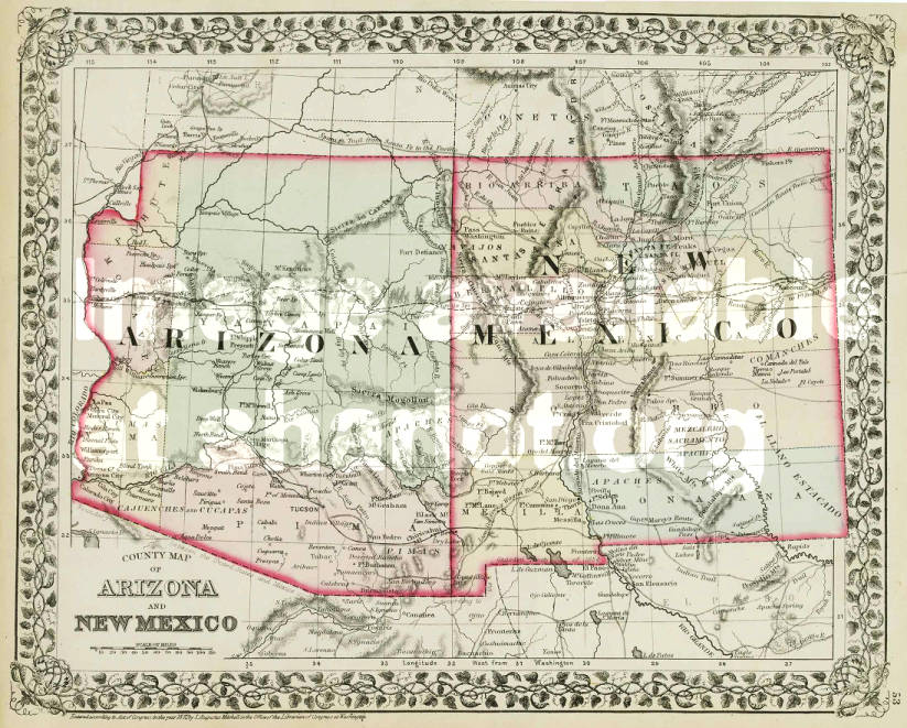 Map Of Arizona And New Mexico.County Map Of Arizona And New Mexico Sharlot Hall Museum Map