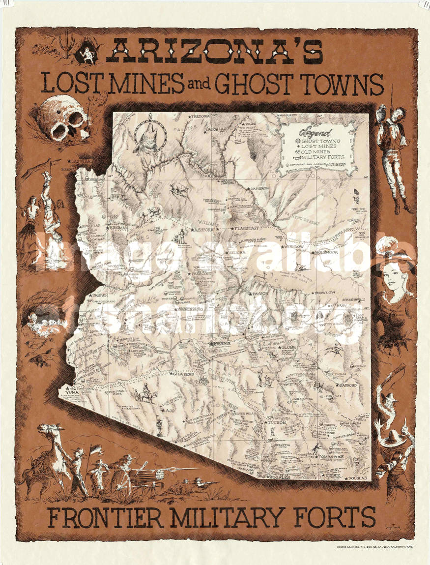 Map Of Arizona Mines.Arizona S Lost Mines And Ghost Towns Sharlot Hall Museum Map
