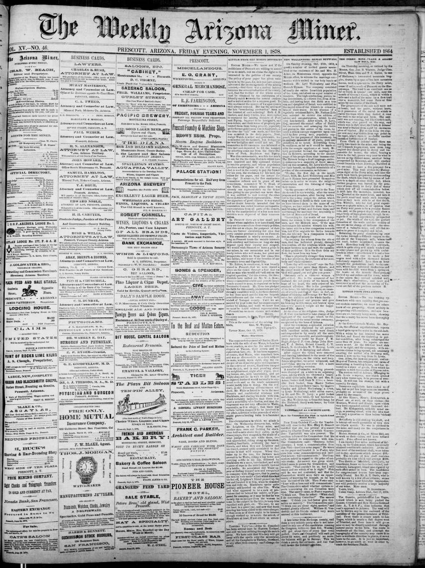 The Weekly Arizona miner, 1878-11-01 - The Weekly Arizona