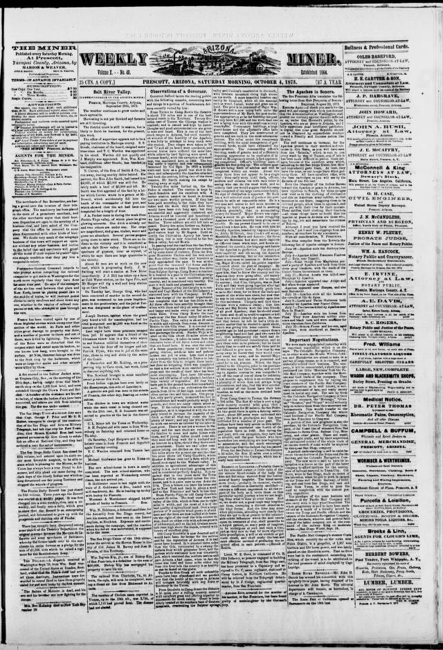 The weekly Arizona miner, 1873-10-04 - The Weekly Arizona Miner