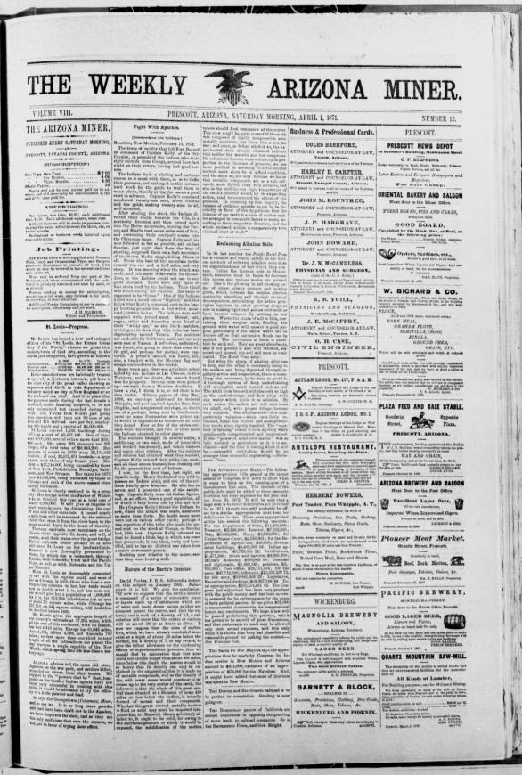 The weekly Arizona miner, 1871-04-01 - The Weekly Arizona