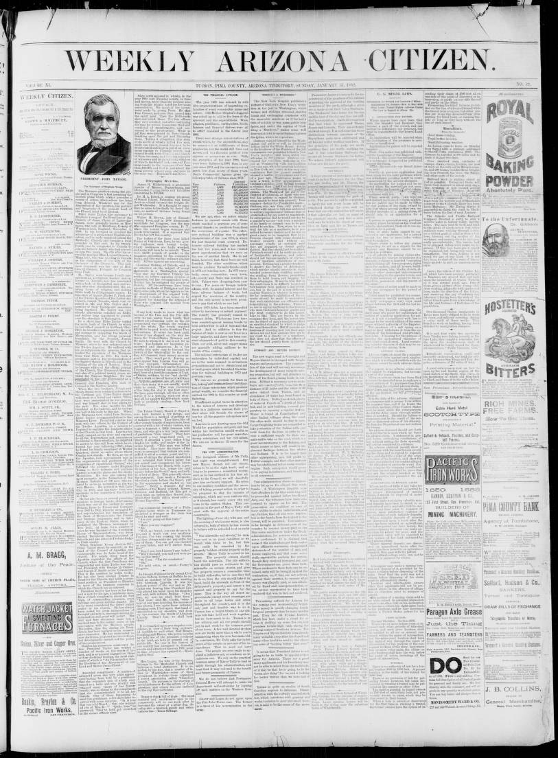 Arizona weekly citizen, 1882-01-15 - Arizona Weekly Citizen
