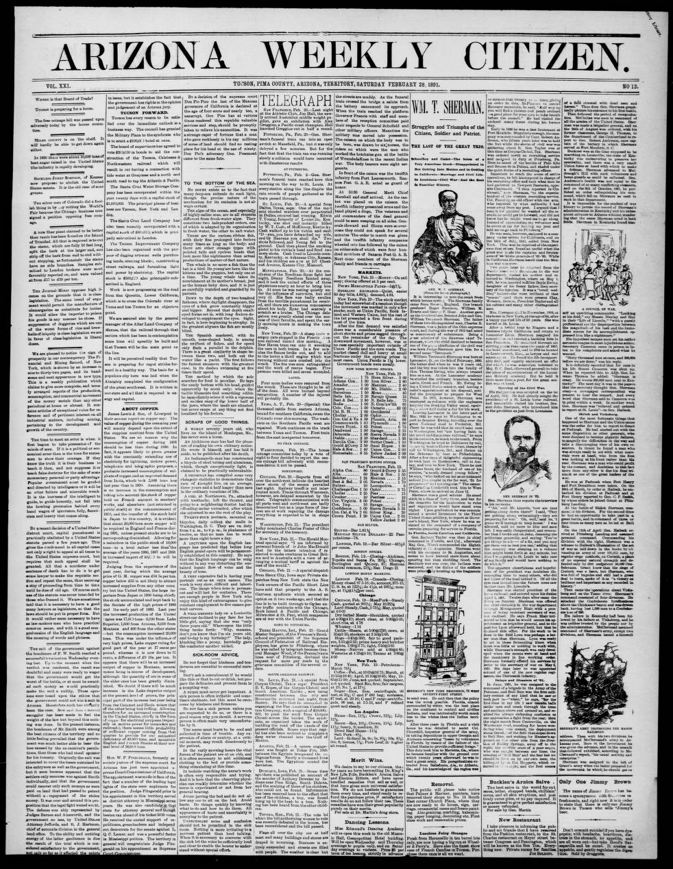 Arizona weekly citizen, 1891-02-28 - Arizona Weekly Citizen