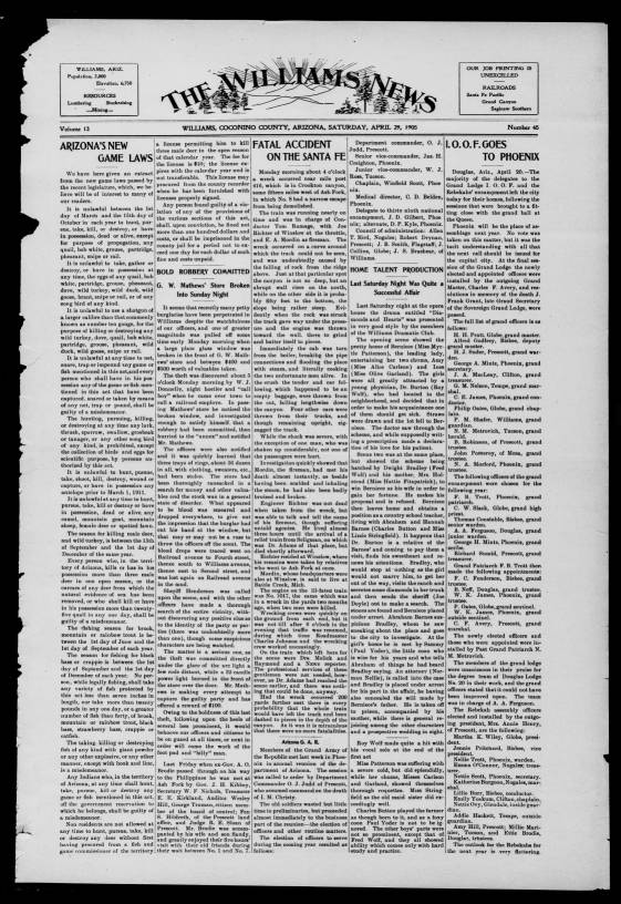 The Williams news  (Williams, Ariz ), 1905-04-29 - The Williams News