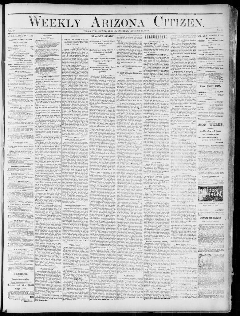 Weekly Arizona citizen, 1880-12-11 - Weekly Arizona Citizen