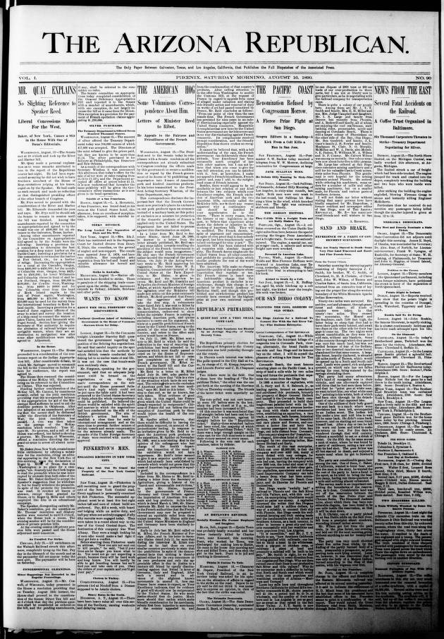 The Arizona republican, 1890-08-16 - Arizona Republican - Arizona