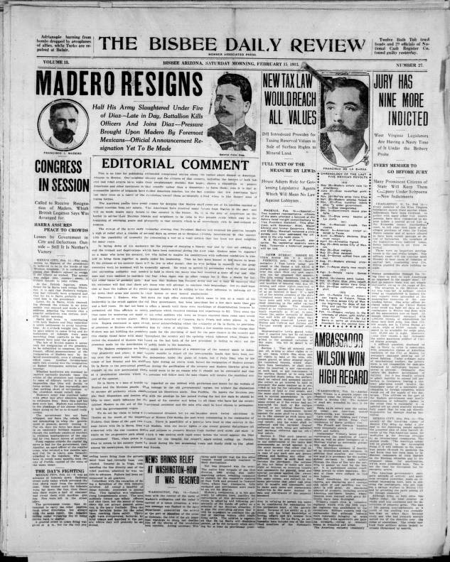reslj the bisbee daily review  1913 02 15 bisbee daily review realjameswoods the bisbee daily review  1913 02 15