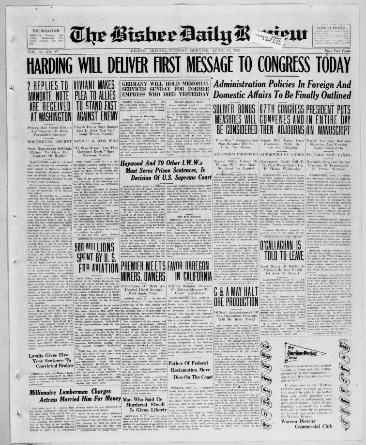 Bisbee daily review, 1921-04-12 - Bisbee Daily Review