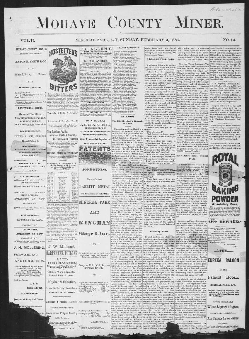 Mohave County miner, 1884-02-03 - Mohave County Miner - Arizona