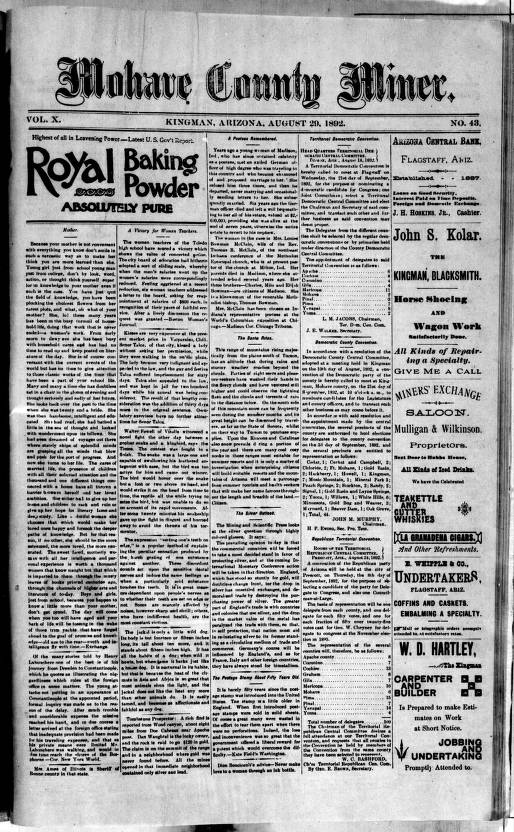 Mohave County miner, 1892-08-27 - Mohave County Miner