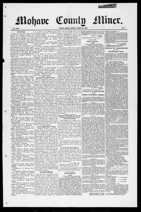 Mohave County miner, 1909-10-30 - Mohave County Miner