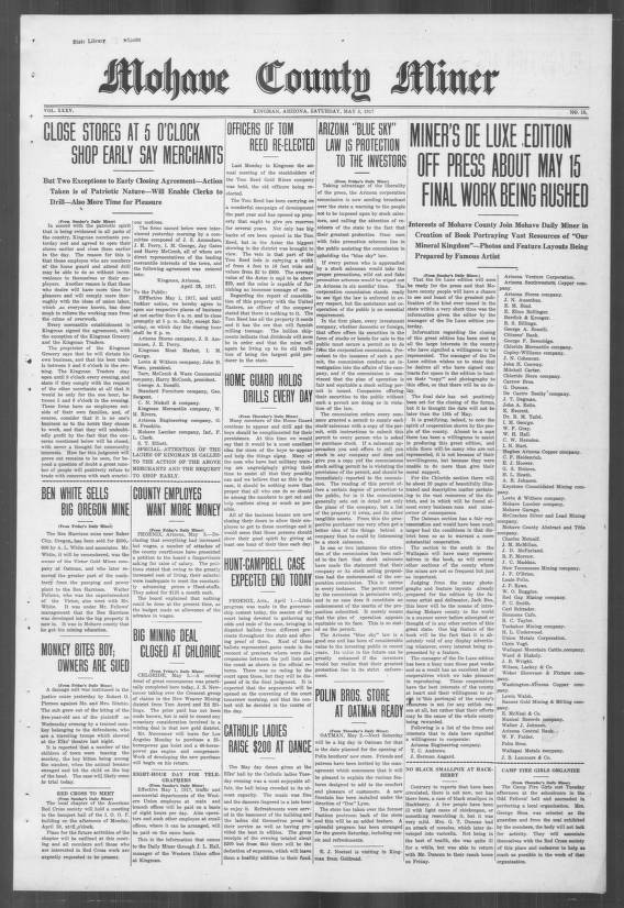 Mohave County Miner 1917 05 05 Mohave County Miner Arizona