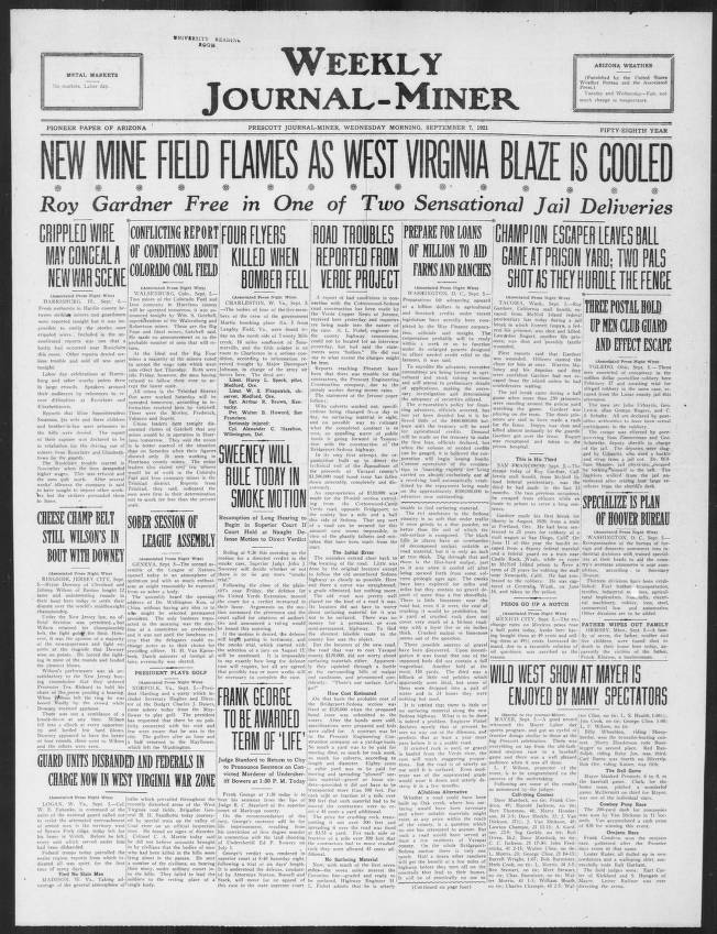 Weekly journal-miner, 1921-09-07 - Weekly Journal-Miner