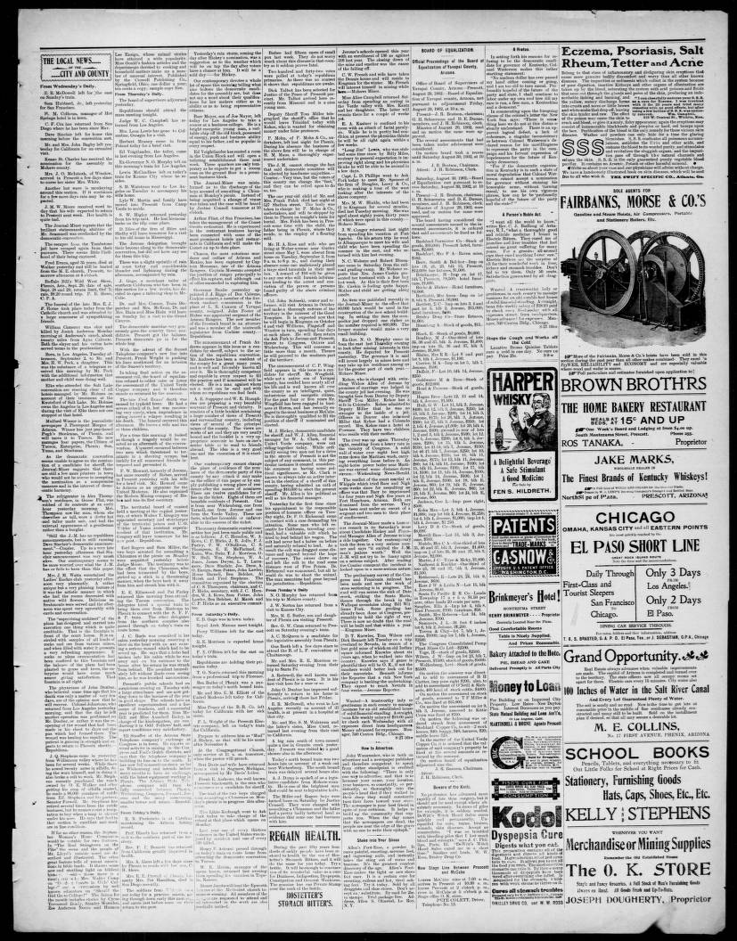 Arizona Weekly Journal Miner 1902 09 10 Arizona Weekly