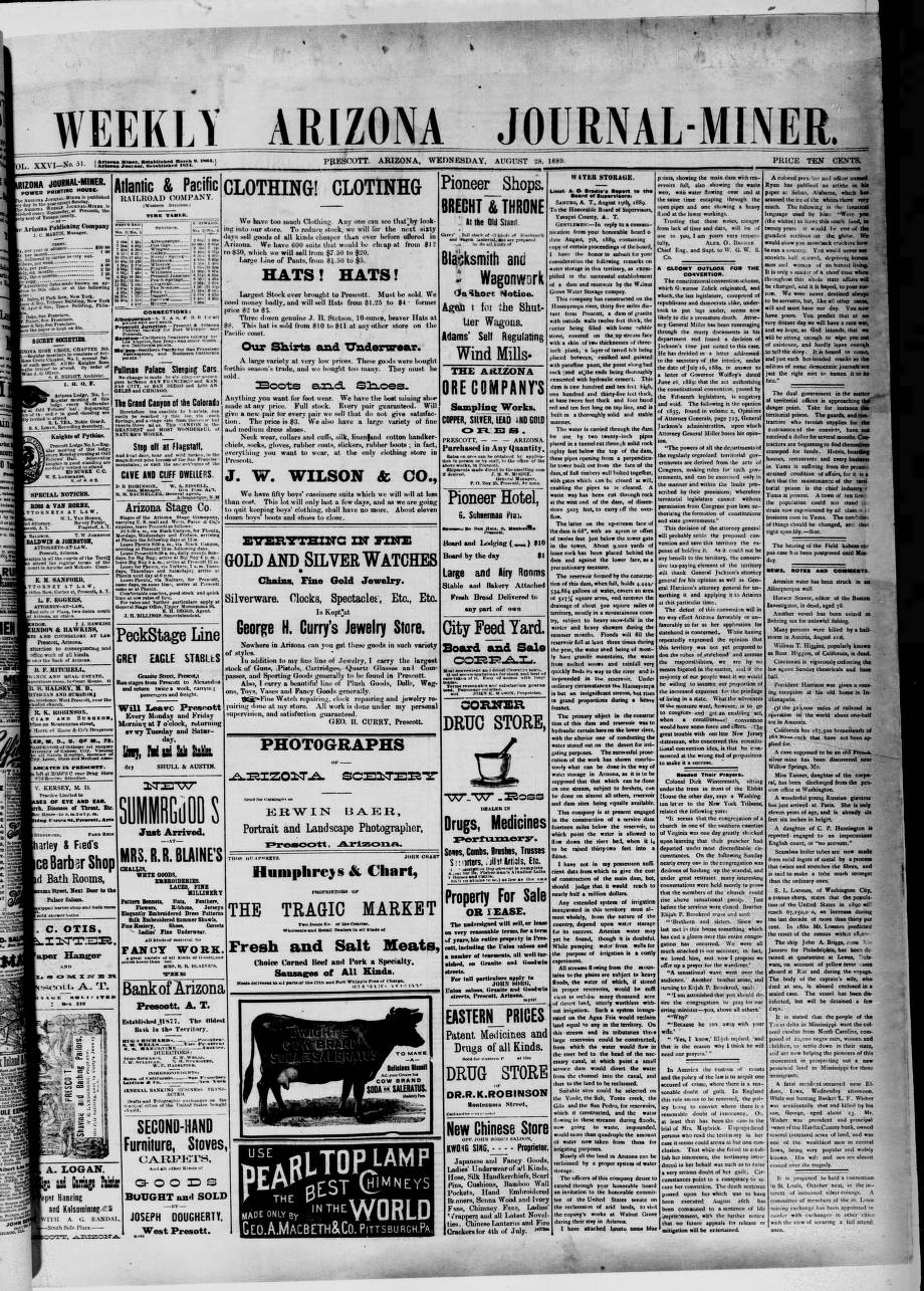 Arizona weekly journal-miner, 1889-08-28 - Arizona Weekly