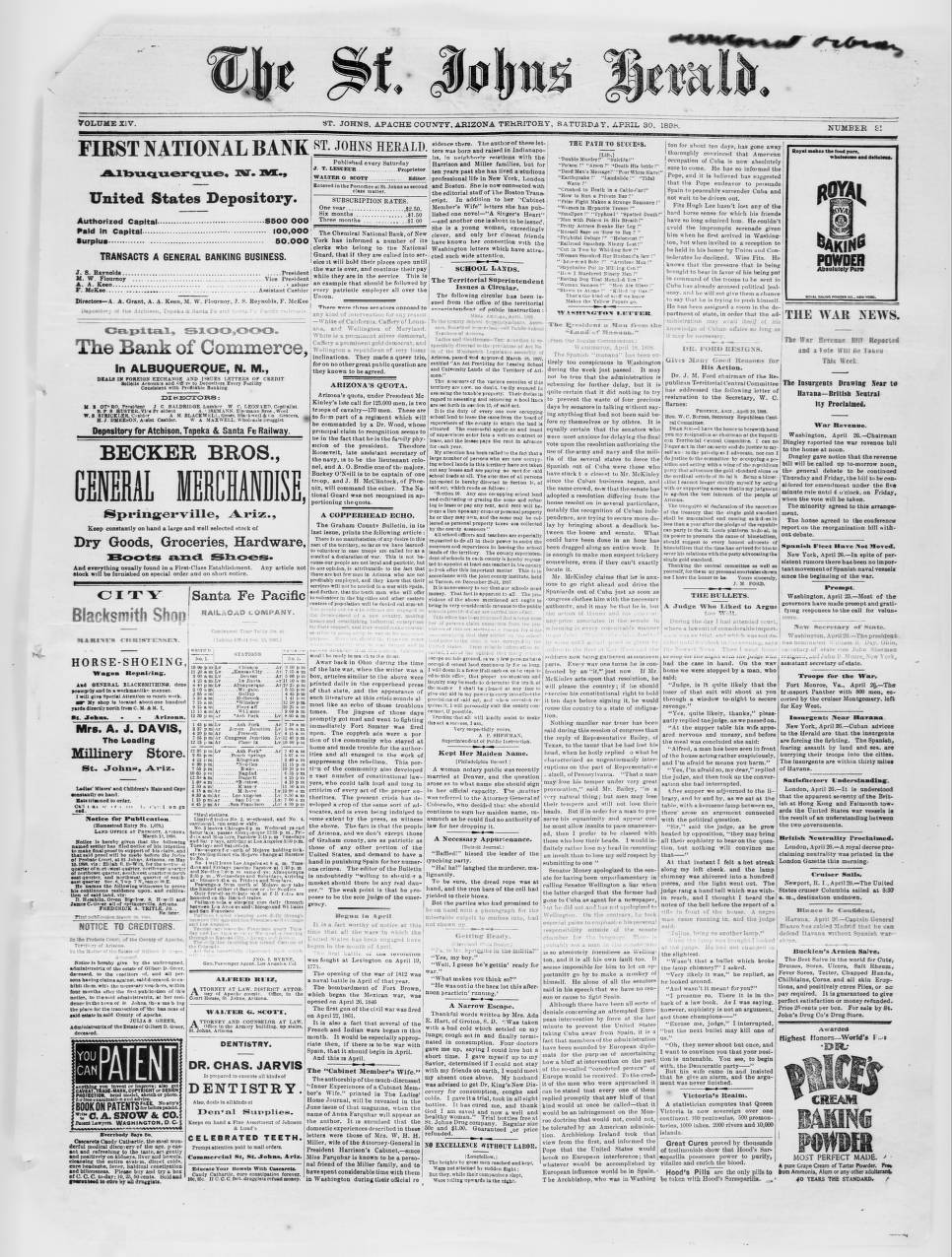 The St  Johns herald, 1898-04-30 - The St  Johns Herald - Arizona