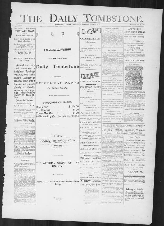 The Daily Tombstone, 1886-10-02 - The Daily Tombstone - Arizona