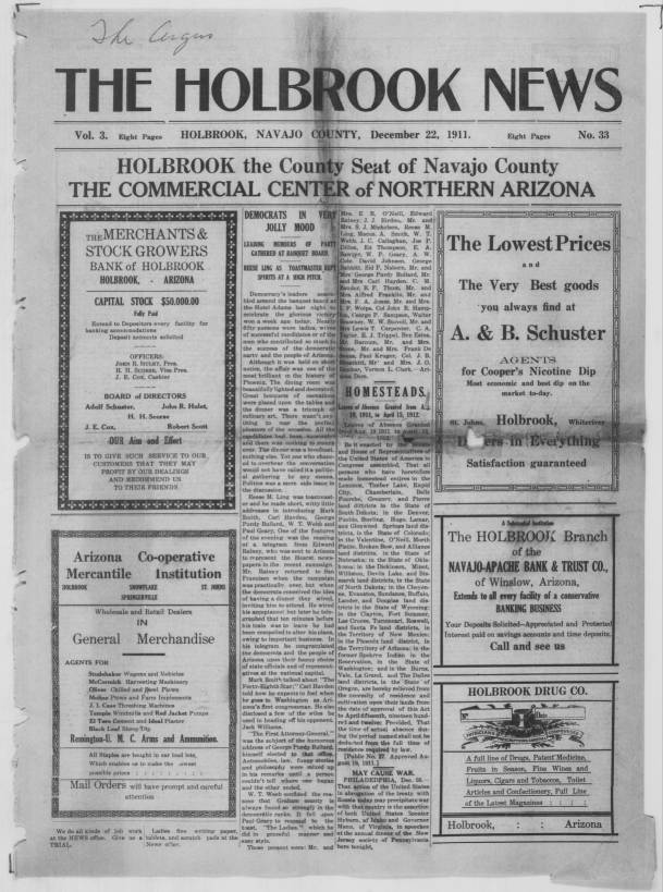 The Holbrook News Holbrook Navajo County Ariz 1911 12 22