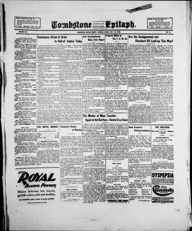 Tombstone epitaph, 1906-05-20, SUNDAY EDITION - Tombstone Epitaph