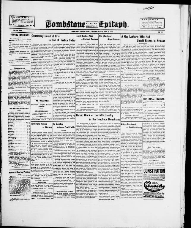 Tombstone epitaph, 1906-07-01, SUNDAY EDITION - Tombstone