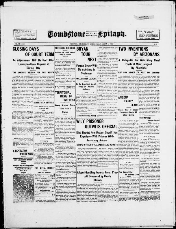 Tombstone epitaph, 1909-08-01, SUNDAY EDITION - Tombstone