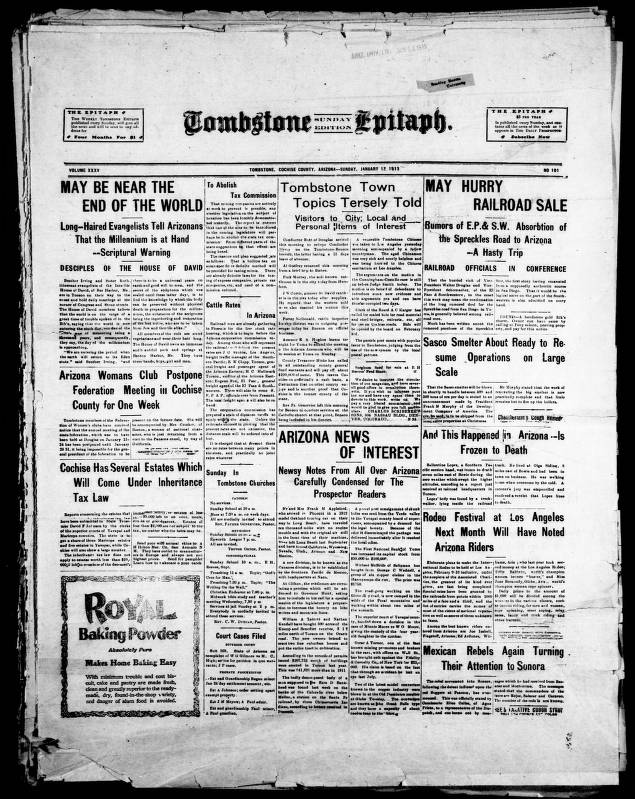 Tombstone epitaph, 1913-01-12, SUNDAY EDITION - Tombstone