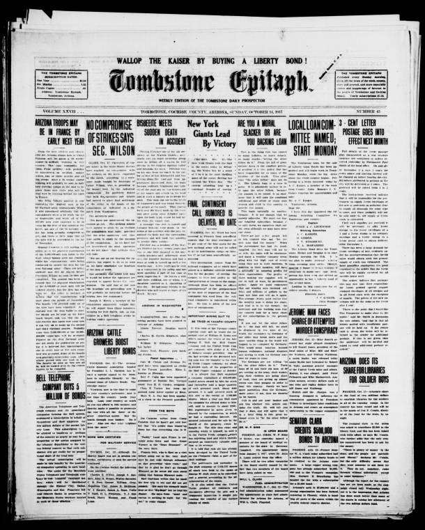 Tombstone Epitaph 1917 10 14 Weekly Edition Tombstone Epitaph