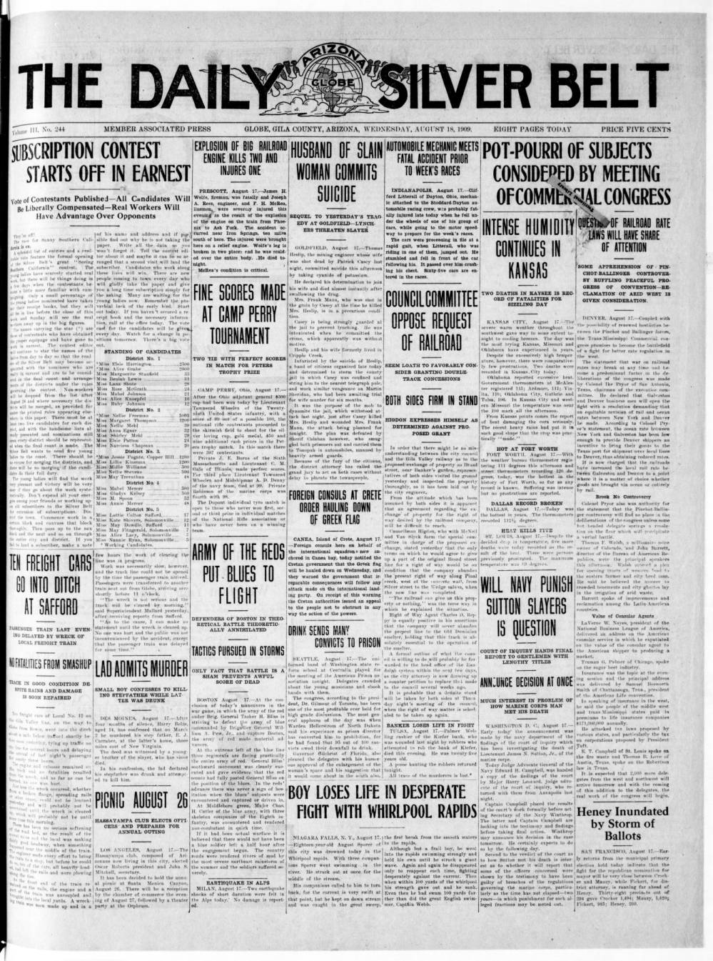 Daily Arizona silver belt, 1909-08-18 - Daily Arizona Silver Belt