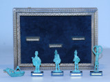 Five Italian Miniature Bronze Figures with Display Box and Card, Gift to Gov. Paul Fannin