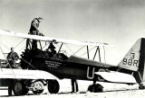 Stearman biplane refueling at Leupp