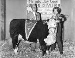 "Tom Chauncey and Shiela Stark with the ""Best Arizona Hereford Steer"" at the Arizona..."