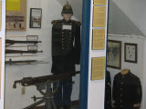 "M1895 Colt-Browning machine gun-""potato digger"" in Spanish-American War display."