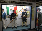 Display showing (right to left) Conquistador, Spanish-colonial tropa ligera, Mexican War Mexican...