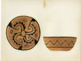 Painting of a black-on-buff bowl with stylized swastika