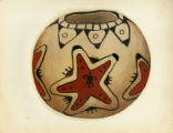 Painting of a black-and-red-on-buff jar with animal centered in star