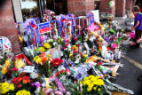 Photo of tributes at Safeway
