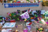 Photo of tributes at Congresswoman Giffords' office