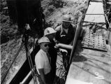 Photograph of construction crews on the Burro Creek Bridge in Mohave County (Ariz.)