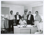 Photograph of Arizona Highway Department Interstate Highway 15 construction crew at Littlefield...