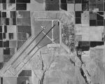 Photograph/aerial view of Luke Air Force Base and its runways in Glendale (Ariz.)