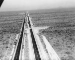 Photograph/aerial view of construction on United States Highway 60 between Florence Junction and...